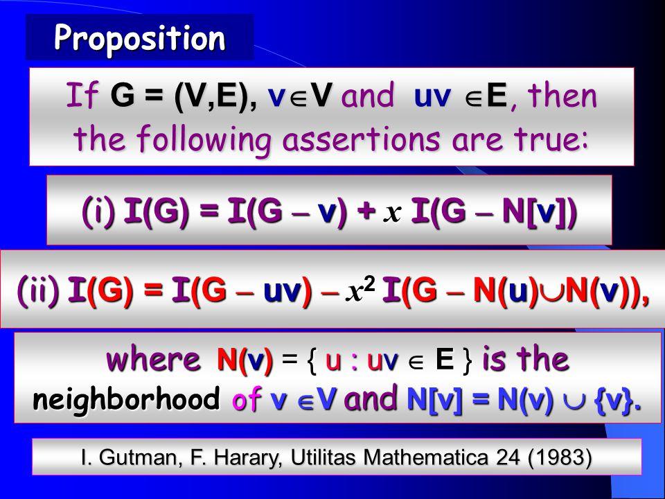 If G = (V,E), v  V and uv  E, then the following assertions are true: Proposition where N(v) = { u : uv  E } is the neighborhood of v  V and N[v] = N(v)  {v}.