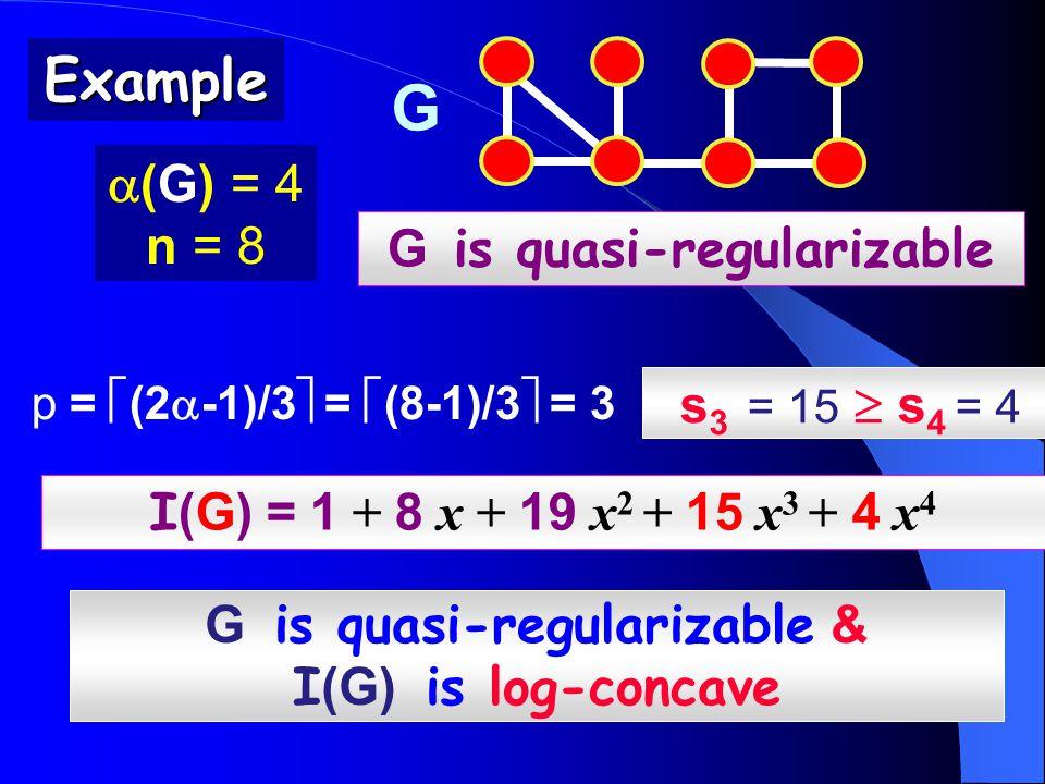 Example G is quasi-regularizable I (G) = 1 + 8 x + 19 x 2 + 15 x 3 + 4 x 4 p =  (2  -1)/3  =  (8-1)/3  = 3  (G) = 4 n = 8 G is quasi-regularizable & I (G) is log-concave s 3 = 15  s 4 = 4 G