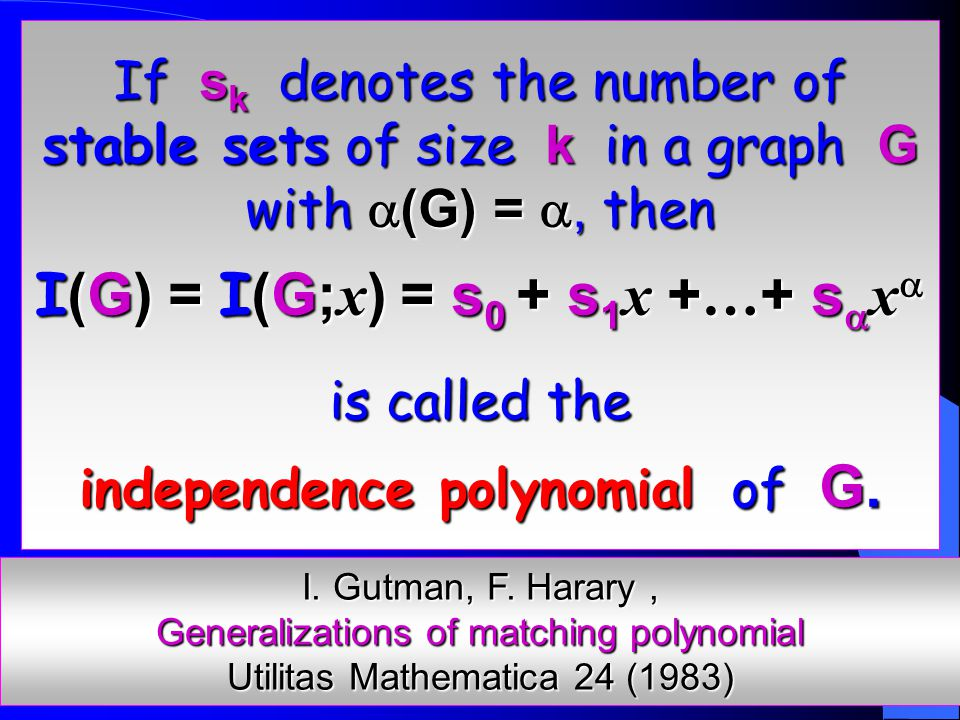 Combining and, it follows that I (G) is unimodal, whenever   9.