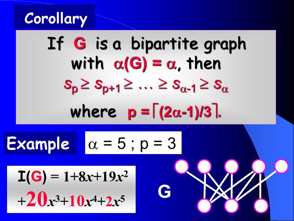 If G is a bipartite graph with  (G) = , then s p  s p+1  …  s  -1  s  where p =  (2  -1)/3 .