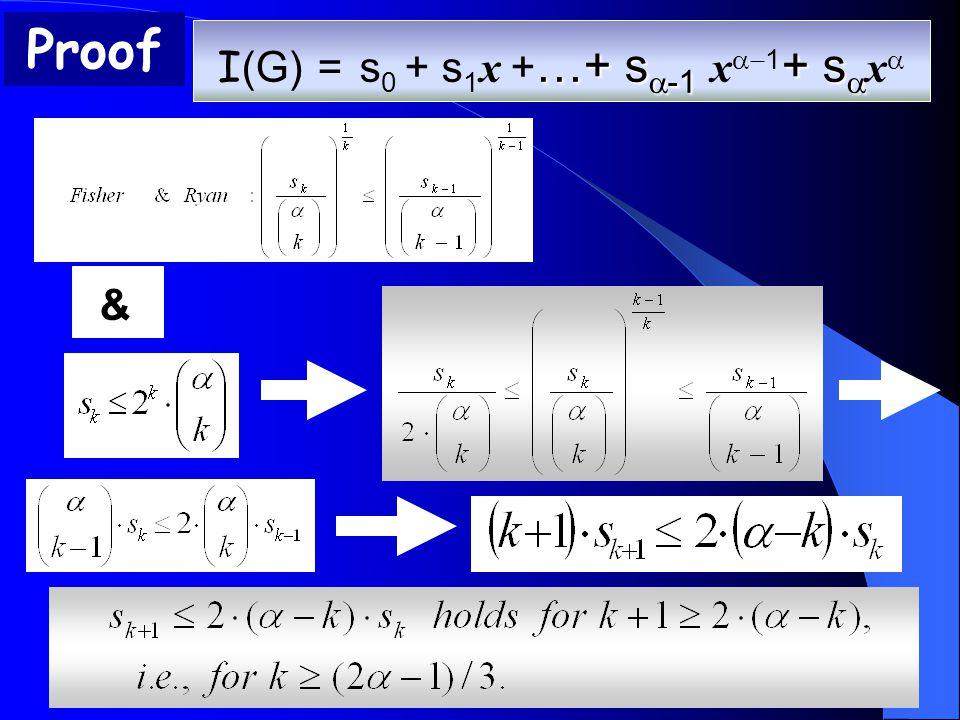 & …+ s  -1 + s  I (G) = s 0 + s 1 x + …+ s  -1 x  1 + s  x 