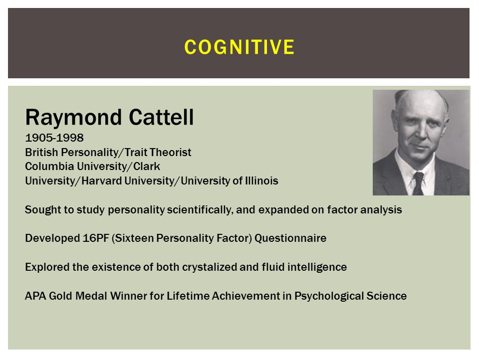 COGNITIVE Alfred Binet 1857-1911 French Psychologist Along with Theodore Simon, Binet developed a rating scale to help identify Parisian school children, the first intelligence test Binet and Simon's rating scale was later adapted by Lewis Terman in the United States into the Stanford-Binet test, yielding a comparative IQ score