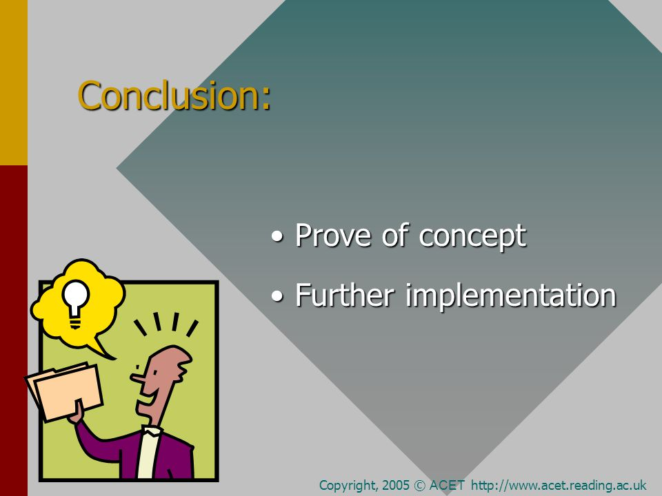 Conclusion: Prove of conceptProve of concept Further implementationFurther implementation Copyright, 2005 © ACET http://www.acet.reading.ac.uk