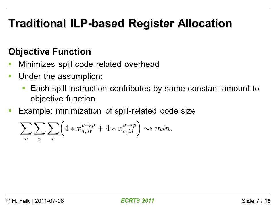 © H.Falk | 2011-07-06 ECRTS 2011 Slide 8 / 18 WCET Minimization via ILP-based Allocation.