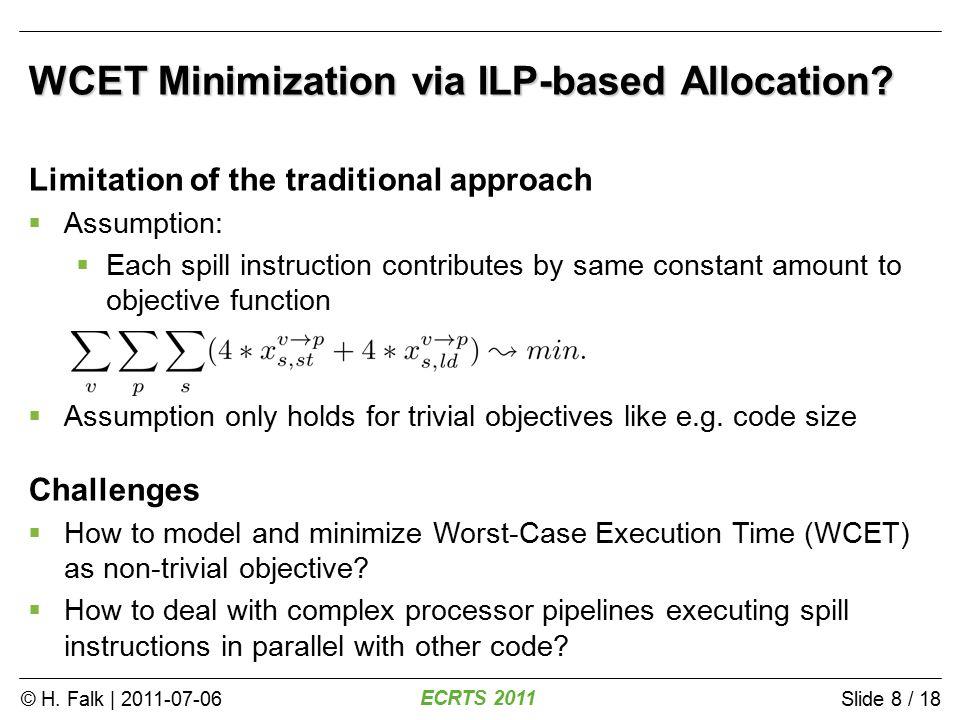 © H. Falk | 2011-07-06 ECRTS 2011 Slide 8 / 18 WCET Minimization via ILP-based Allocation.
