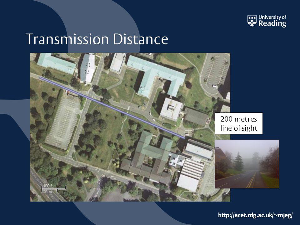 http://acet.rdg.ac.uk/~mjeg/ Transmission Distance 200 metres line of sight