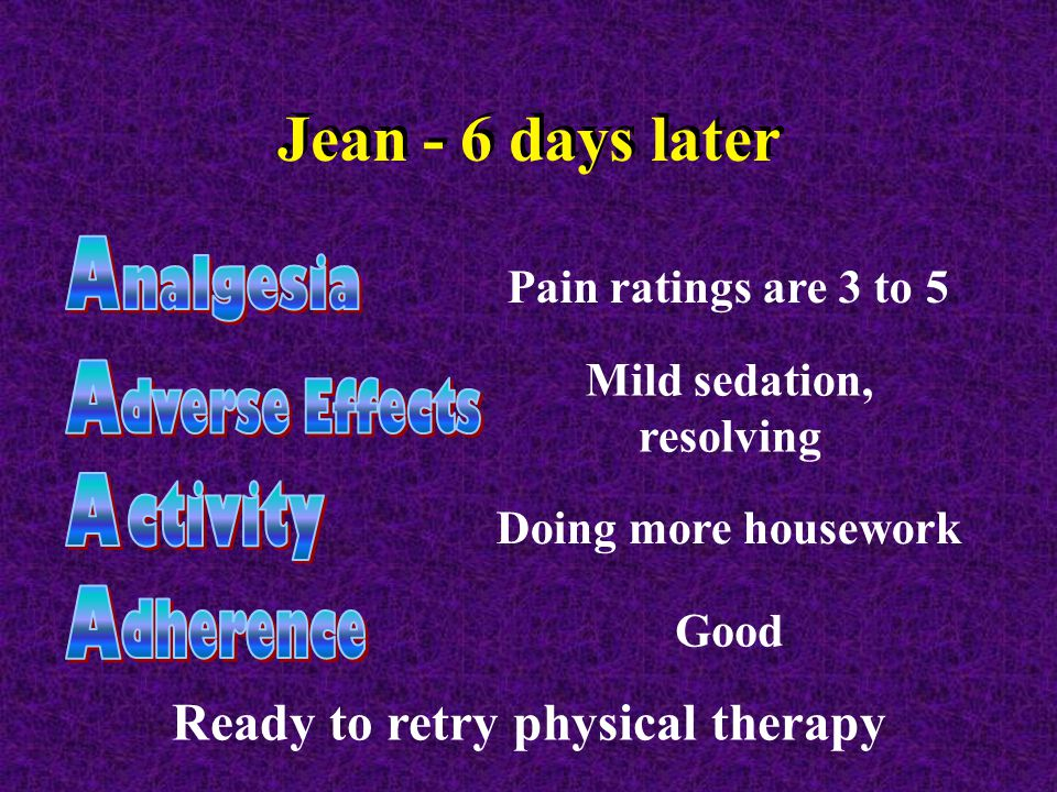 Jean - 6 days later Pain ratings are 3 to 5 Mild sedation, resolving Doing more housework Good Ready to retry physical therapy