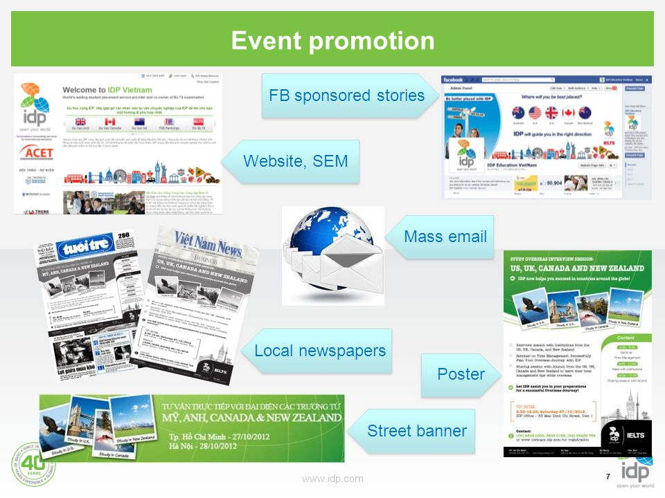 Event promotion www.idp.com 7 FB sponsored stories Poster Local newspapersStreet banner Website, SEMMass email