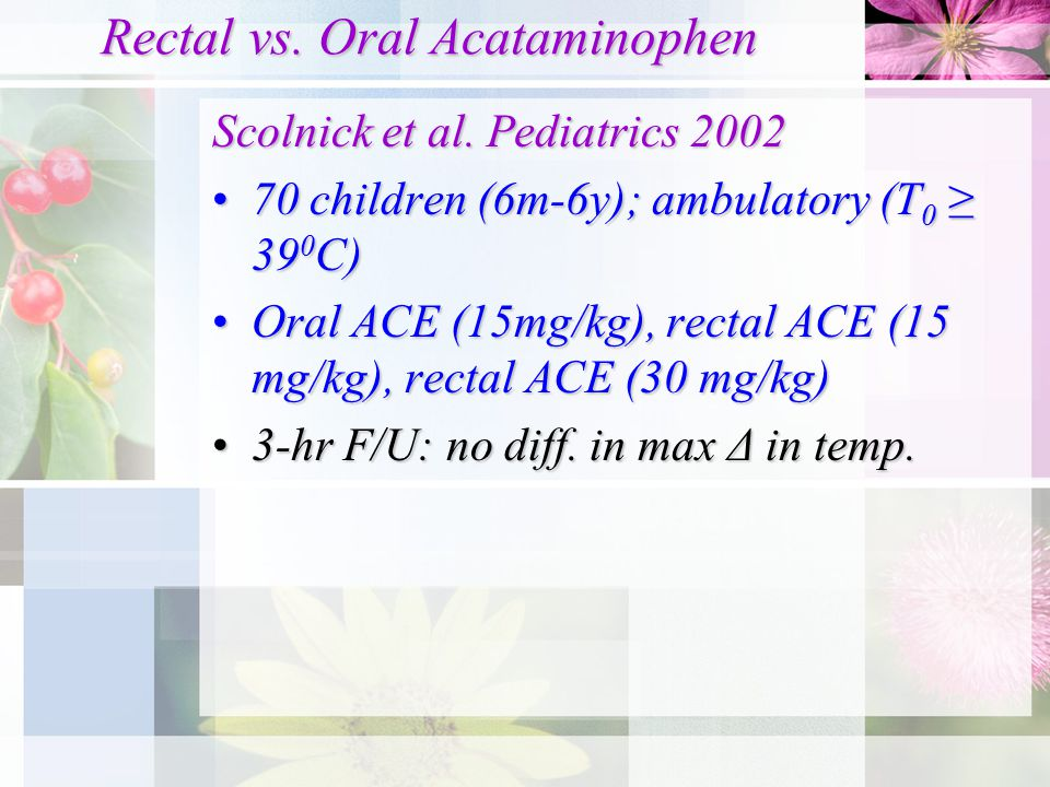 Rectal vs. Oral Acataminophen Scolnick et al.