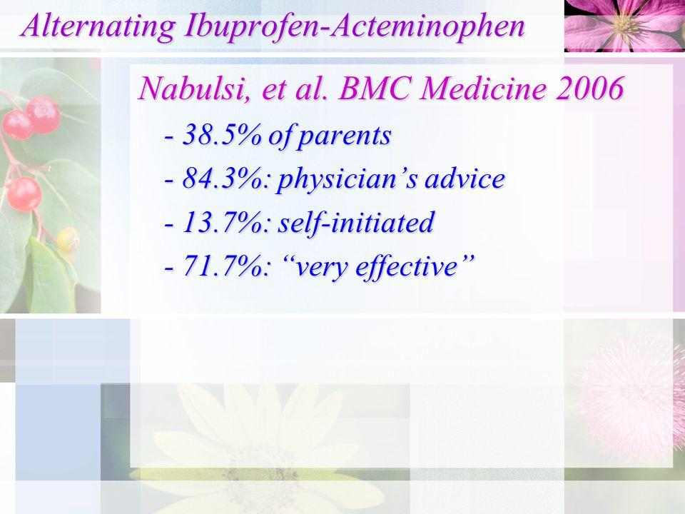 Alternating Ibuprofen-Acteminophen Alternating Ibuprofen-Acteminophen Nabulsi, et al. BMC Medicine 2006 - 38.5% of parents - 84.3%: physician's advice