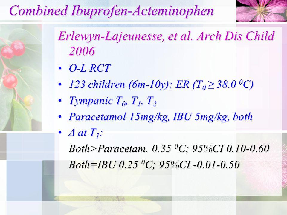 Combined Ibuprofen-Acteminophen Combined Ibuprofen-Acteminophen Erlewyn-Lajeunesse, et al. Arch Dis Child 2006 O-L RCTO-L RCT 123 children (6m-10y); E