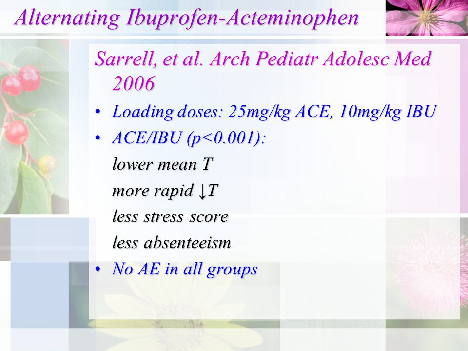 Alternating Ibuprofen-Acteminophen Alternating Ibuprofen-Acteminophen Sarrell, et al.