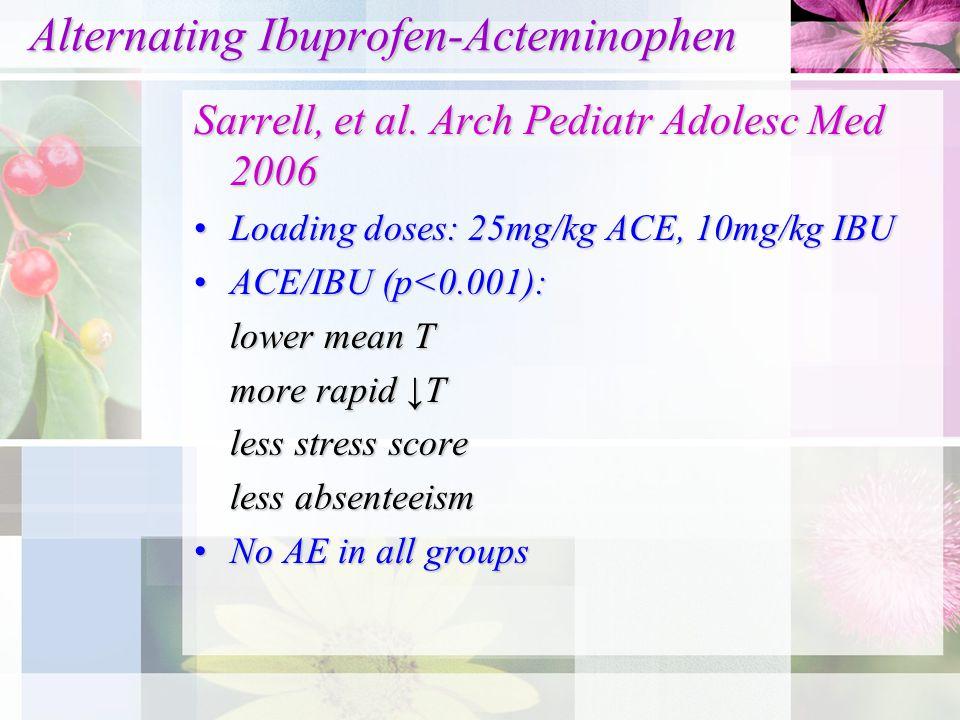 Alternating Ibuprofen-Acteminophen Alternating Ibuprofen-Acteminophen Sarrell, et al. Arch Pediatr Adolesc Med 2006 Loading doses: 25mg/kg ACE, 10mg/k