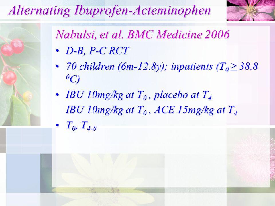 Alternating Ibuprofen-Acteminophen Alternating Ibuprofen-Acteminophen Nabulsi, et al. BMC Medicine 2006 D-B, P-C RCTD-B, P-C RCT 70 children (6m-12.8y