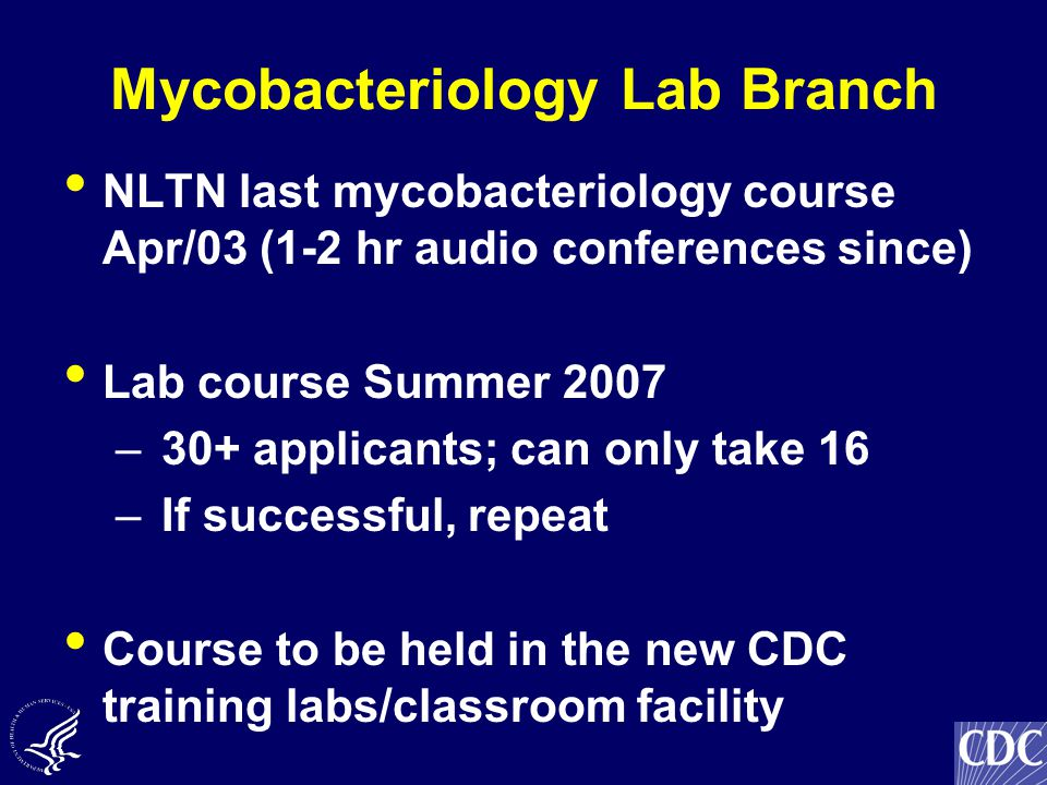 Mycobacteriology Lab Branch NLTN last mycobacteriology course Apr/03 (1-2 hr audio conferences since) Lab course Summer 2007 – 30+ applicants; can only take 16 – If successful, repeat Course to be held in the new CDC training labs/classroom facility
