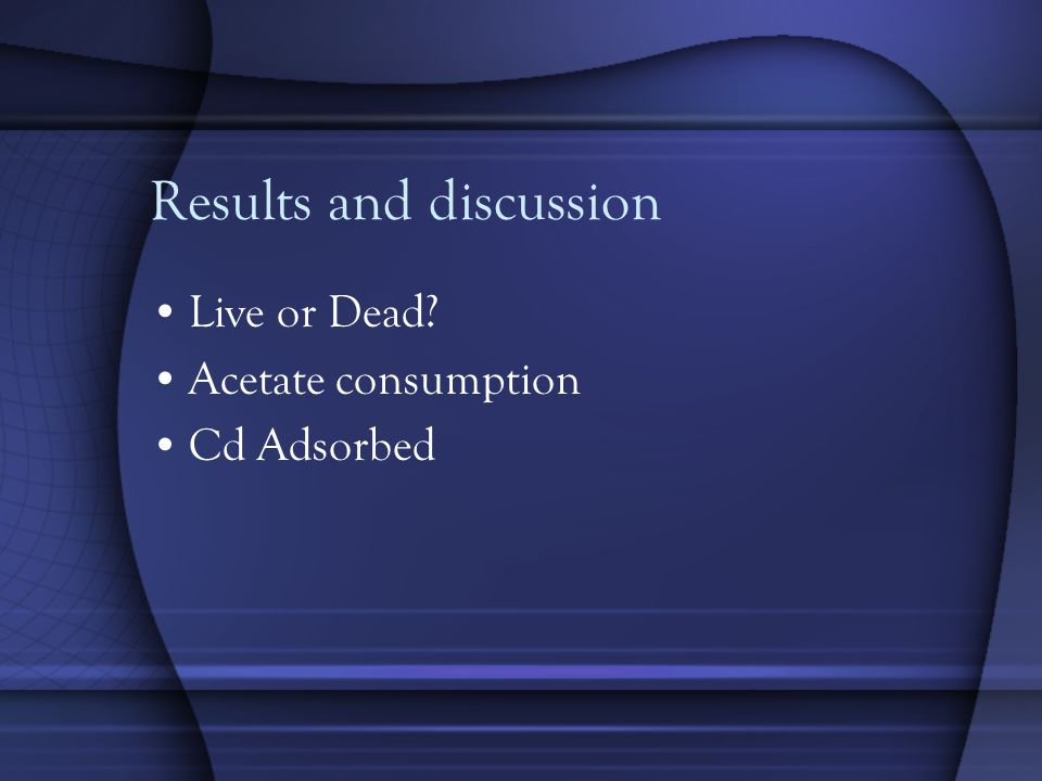 Results and discussion Live or Dead Acetate consumption Cd Adsorbed