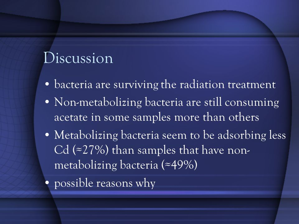 Discussion bacteria are surviving the radiation treatment Non-metabolizing bacteria are still consuming acetate in some samples more than others Metabolizing bacteria seem to be adsorbing less Cd (≈27%) than samples that have non- metabolizing bacteria (≈49%) possible reasons why