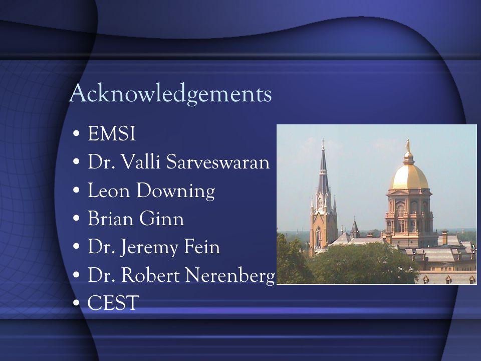 Acknowledgements EMSI Dr. Valli Sarveswaran Leon Downing Brian Ginn Dr.