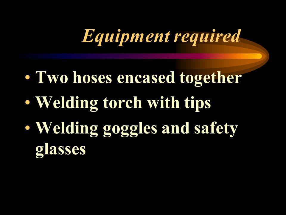 Equipment required Oxygen cylinder Acetylene cylinder Pressure regulators