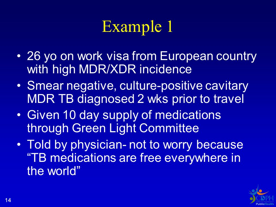 14 Example 1 26 yo on work visa from European country with high MDR/XDR incidence Smear negative, culture-positive cavitary MDR TB diagnosed 2 wks prior to travel Given 10 day supply of medications through Green Light Committee Told by physician- not to worry because TB medications are free everywhere in the world