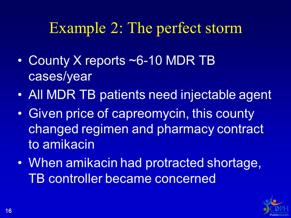 16 Example 2: The perfect storm County X reports ~6-10 MDR TB cases/year All MDR TB patients need injectable agent Given price of capreomycin, this county changed regimen and pharmacy contract to amikacin When amikacin had protracted shortage, TB controller became concerned