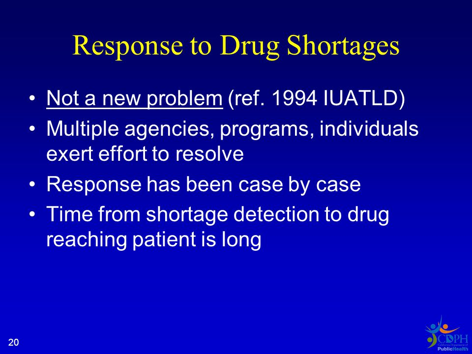 20 Response to Drug Shortages Not a new problem (ref.