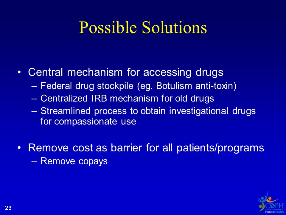 23 Possible Solutions Central mechanism for accessing drugs –Federal drug stockpile (eg.