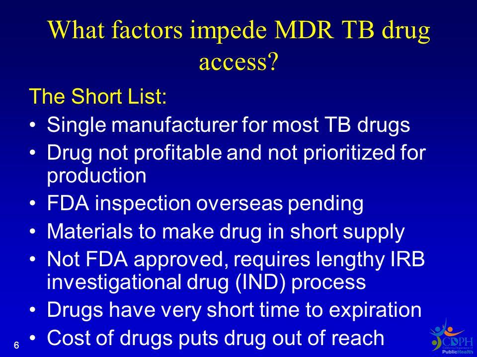 6 What factors impede MDR TB drug access.