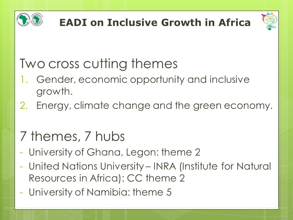 EADI on Inclusive Growth in Africa Two cross cutting themes 1.Gender, economic opportunity and inclusive growth.
