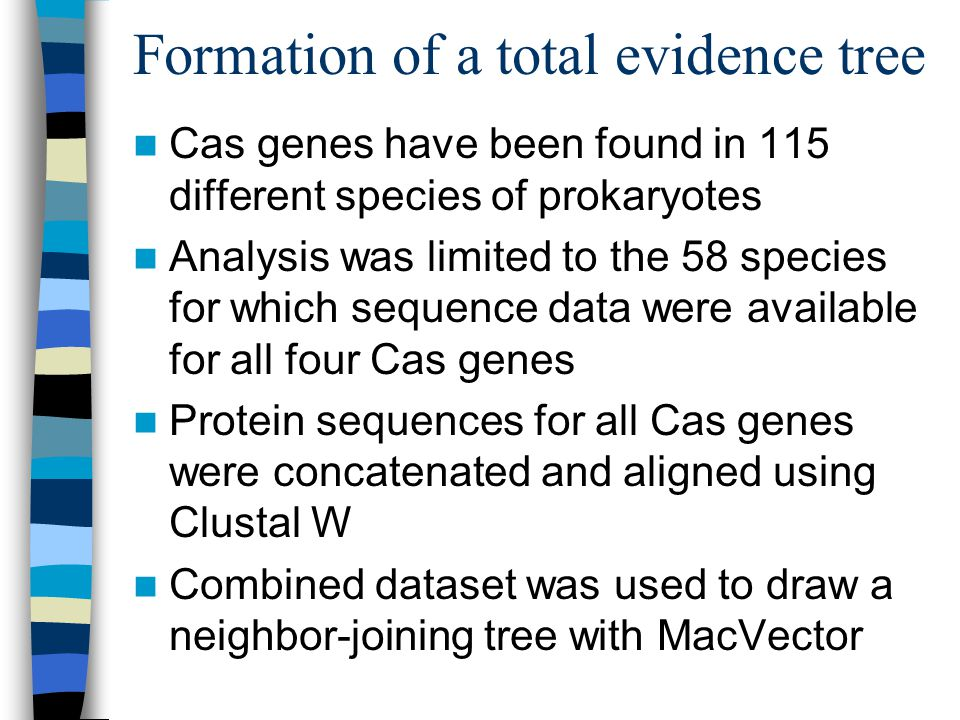 Formation of a total evidence tree Cas genes have been found in 115 different species of prokaryotes Analysis was limited to the 58 species for which sequence data were available for all four Cas genes Protein sequences for all Cas genes were concatenated and aligned using Clustal W Combined dataset was used to draw a neighbor-joining tree with MacVector