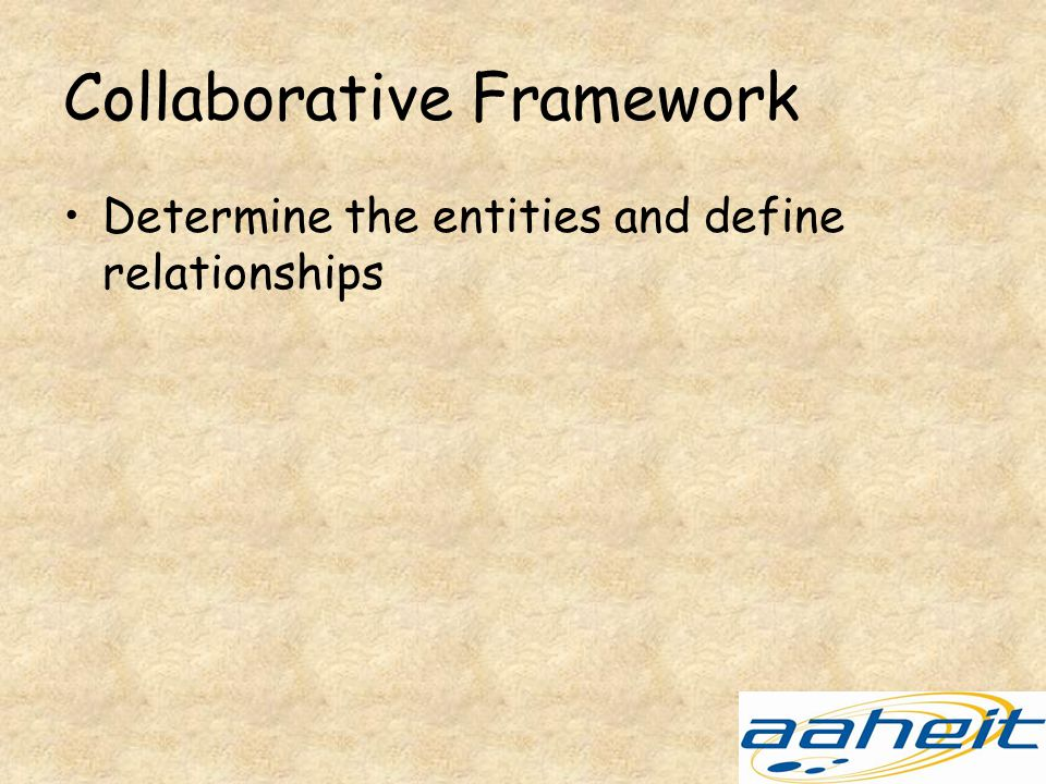 Collaborative Framework Determine the entities and define relationships