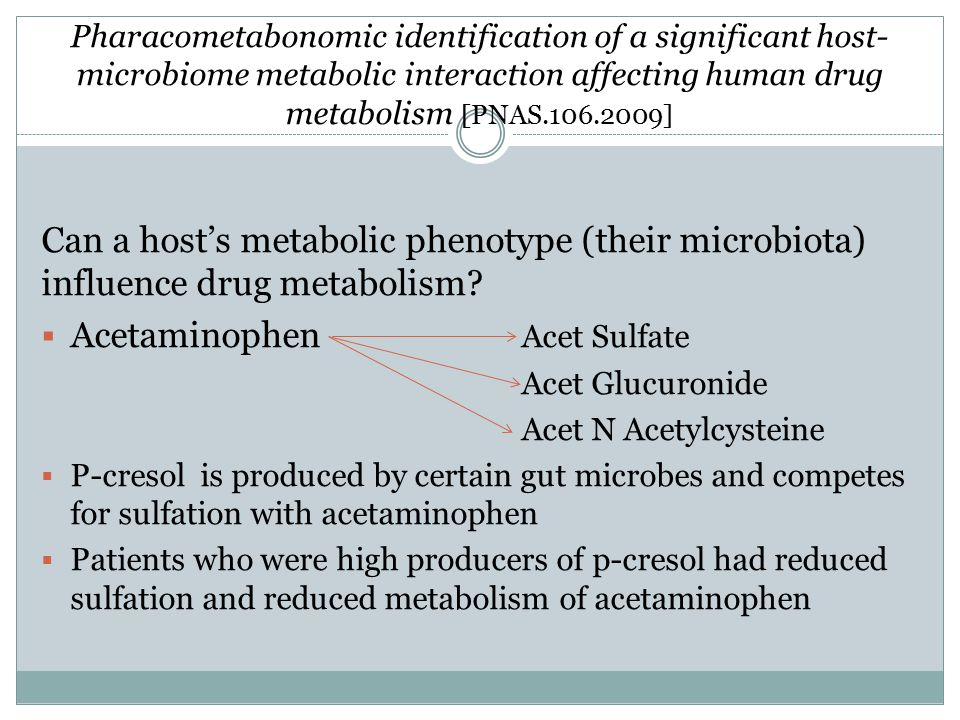 Pharacometabonomic identification of a significant host- microbiome metabolic interaction affecting human drug metabolism [PNAS.106.2009] Can a host's