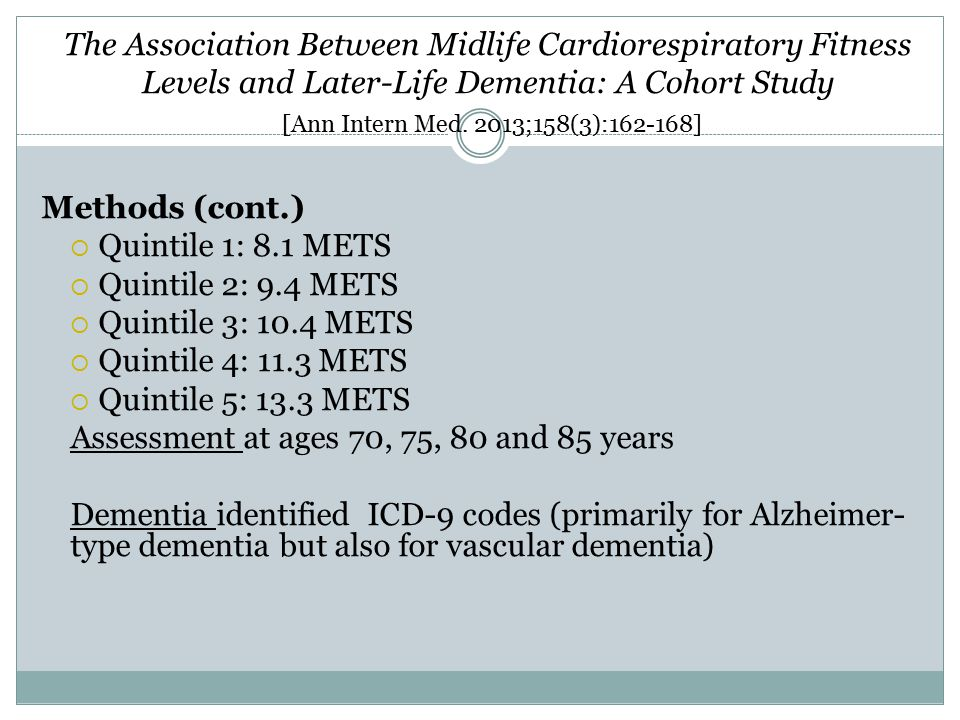 The Association Between Midlife Cardiorespiratory Fitness Levels and Later-Life Dementia: A Cohort Study [Ann Intern Med. 2013;158(3):162-168] Methods