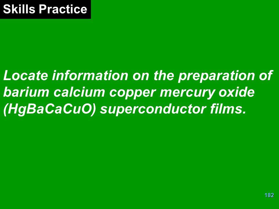 182 Locate information on the preparation of barium calcium copper mercury oxide (HgBaCaCuO) superconductor films.
