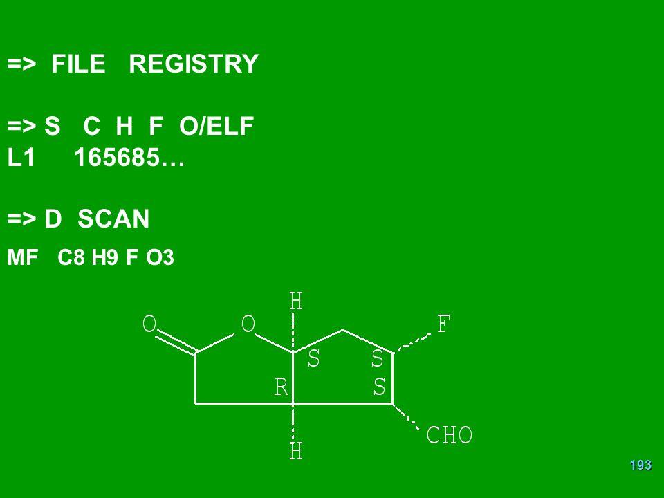 193 => FILE REGISTRY => S C H F O/ELF L1165685… => D SCAN MF C8 H9 F O3