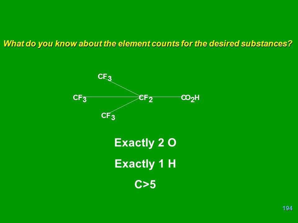 194 CF 3 CF 2 CO 2 H CF 3 CF 3 What do you know about the element counts for the desired substances? Exactly 2 O Exactly 1 H C>5