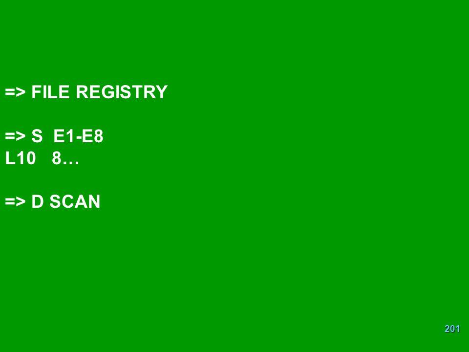 201 => FILE REGISTRY => S E1-E8 L10 8… => D SCAN
