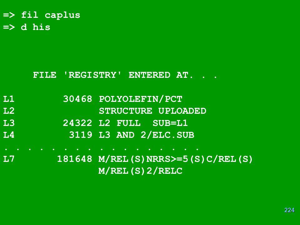 224 => fil caplus => d his FILE REGISTRY ENTERED AT...