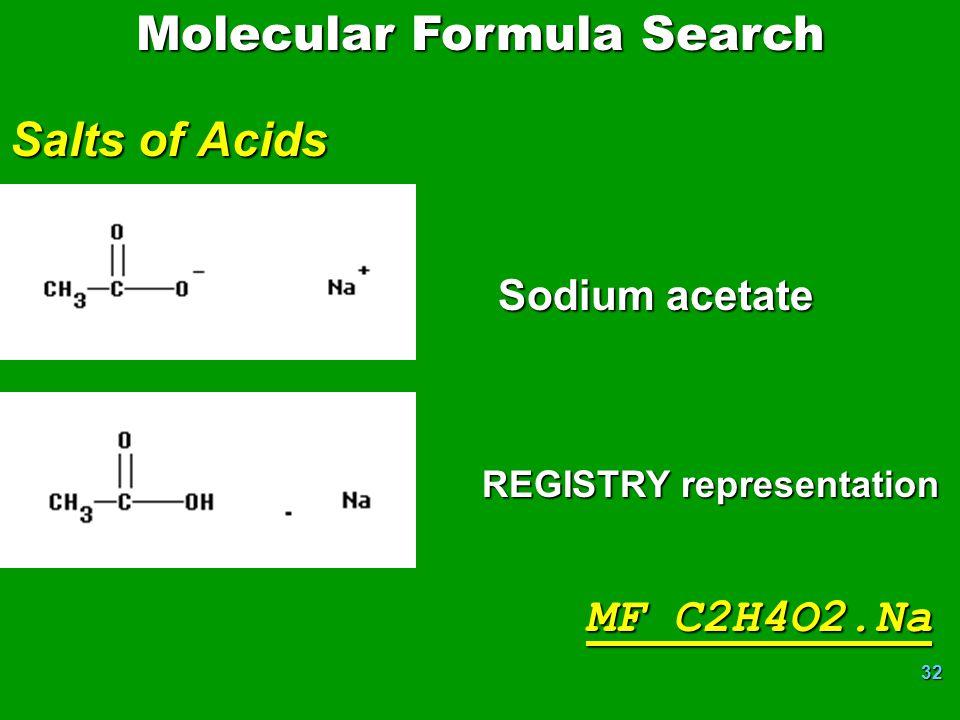 32 Salts of Acids REGISTRY representation Sodium acetate MF C2H4O2.Na Molecular Formula Search