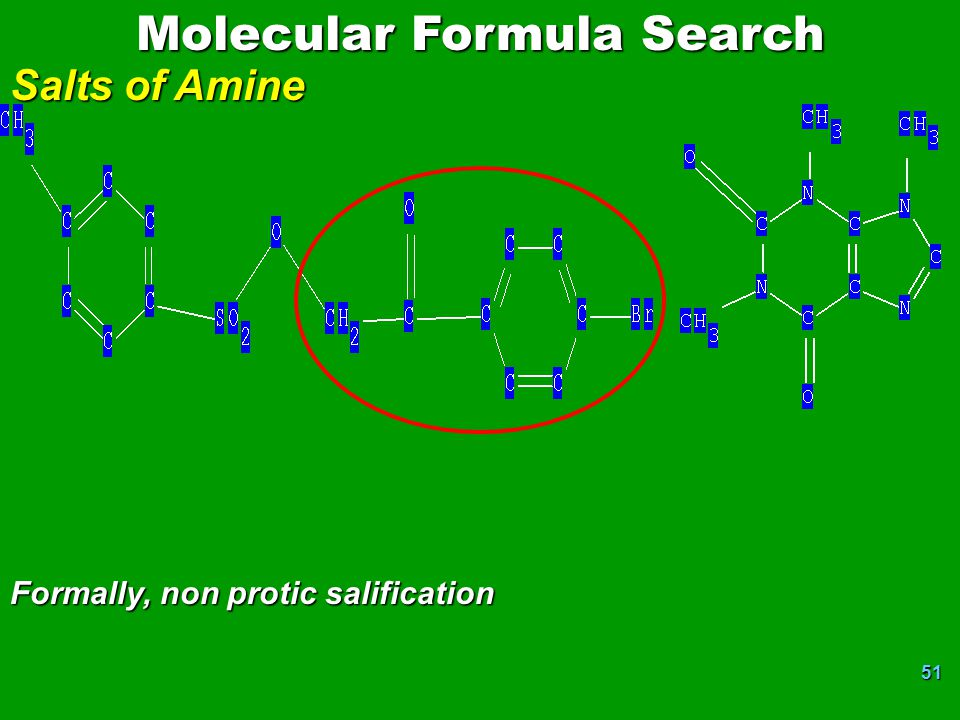 51 Molecular Formula Search Salts of Amine Formally, non protic salification
