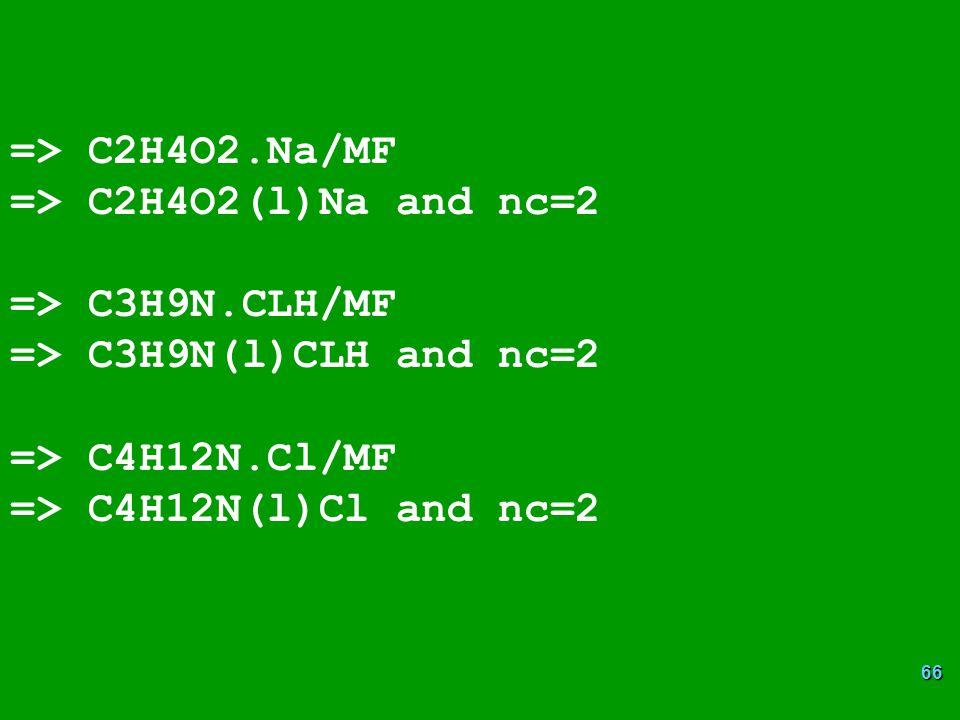 66 => C2H4O2.Na/MF => C2H4O2(l)Na and nc=2 => C3H9N.CLH/MF => C3H9N(l)CLH and nc=2 => C4H12N.Cl/MF => C4H12N(l)Cl and nc=2