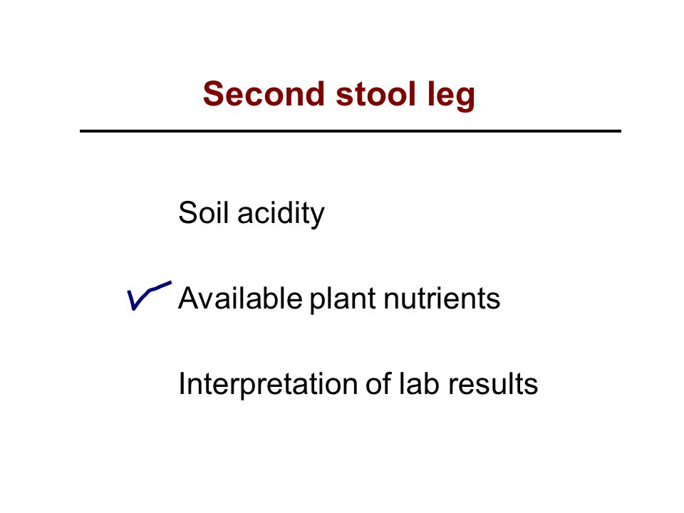 Soil acidity Available plant nutrients Interpretation of lab results Second stool leg