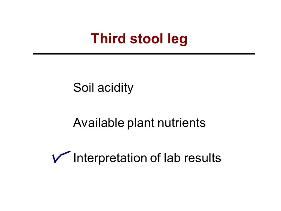 Soil acidity Available plant nutrients Interpretation of lab results Third stool leg
