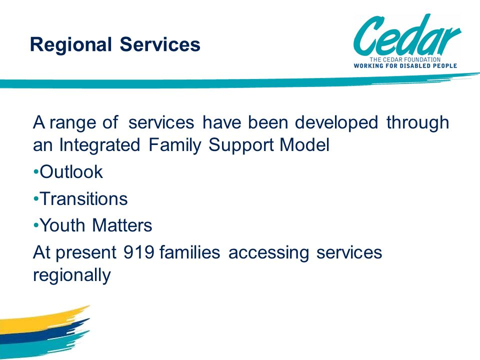 A range of services have been developed through an Integrated Family Support Model Outlook Transitions Youth Matters At present 919 families accessing services regionally