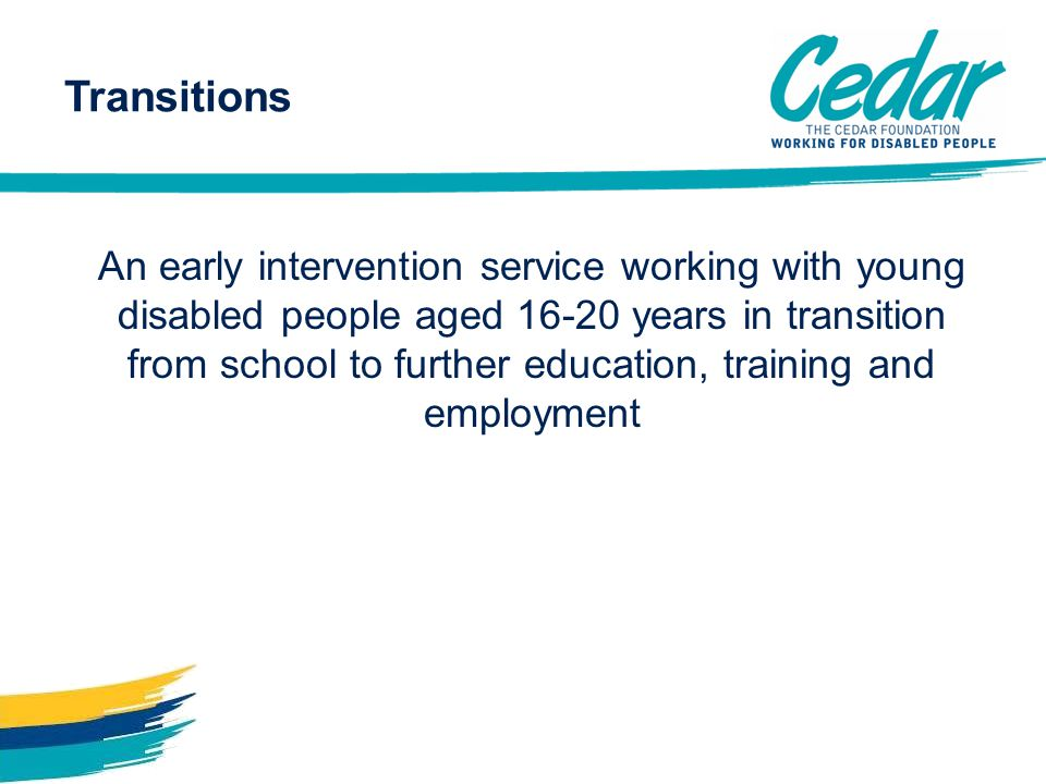 Transitions An early intervention service working with young disabled people aged 16-20 years in transition from school to further education, training and employment