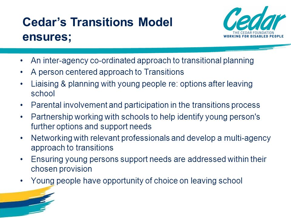 An inter-agency co-ordinated approach to transitional planning A person centered approach to Transitions Liaising & planning with young people re: opt