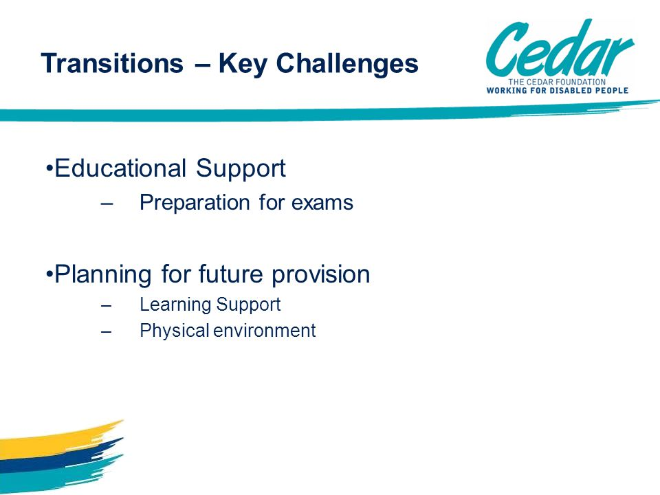 Transitions – Key Challenges Educational Support –Preparation for exams Planning for future provision –Learning Support –Physical environment
