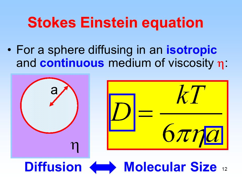 12 For a sphere diffusing in an isotropic and continuous medium of viscosity  :  Stokes Einstein equation Diffusion Molecular Size