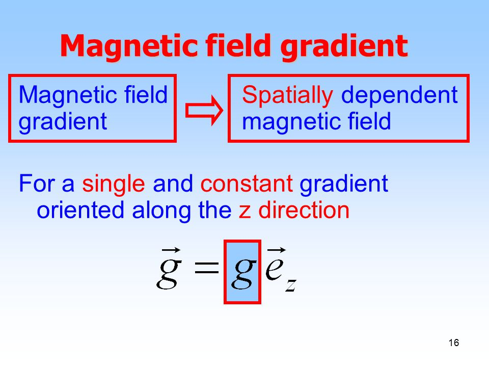16 Magnetic field gradient Magnetic field gradient Spatially dependent magnetic field For a single and constant gradient oriented along the z direction