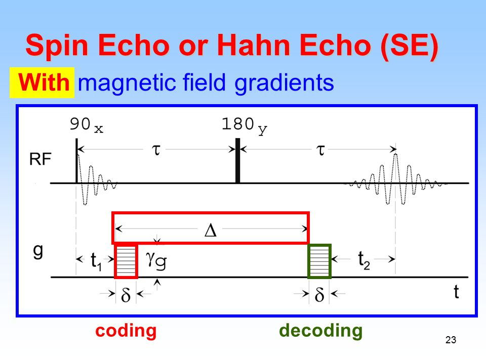 23 codingdecoding Spin Echo or Hahn Echo (SE) With magnetic field gradients